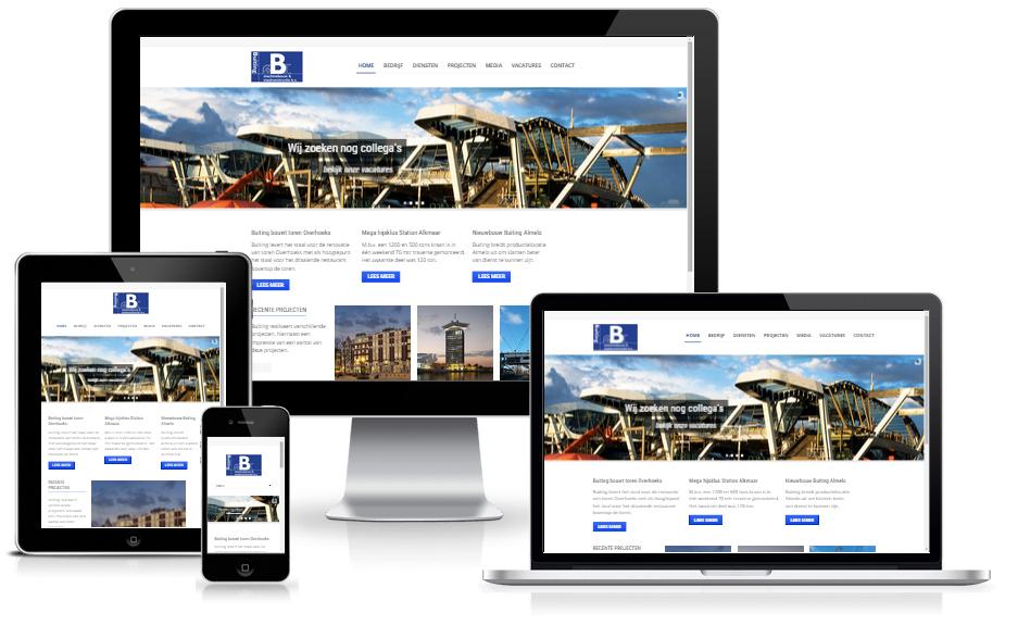 voorbeeld website op verschillende apparaten